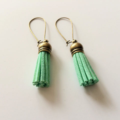 Mint,GREEN,SUEDE,TASSEL,Earrings,/,Green,Leather,Suede,Fringe,Tassel,Jewelry,Gift,for,Her,under,5,dollars,Boxed,under_5_dollars,gift_for_her,made_in_Canada,tassel_earrings,suede_tassels,tassel_jewelry,trendy_earrings,leather_tassels,antique_bronze,mint_green_suede,mint_green_leather,mint_green_tassels