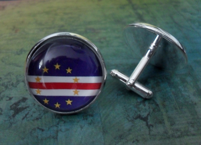 CAPE VERDE Flag Silver Cufflinks / Cape Verdean Flag / Father's Day / Groomsmen Gift / Wedding / Patriotic cuff links / gift boxed - product image