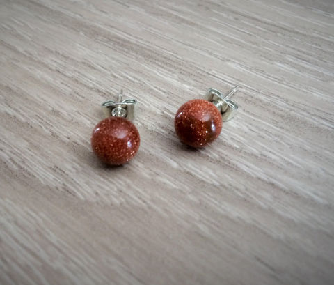 GOLDSTONE,Simple,Stud,Earrings,/,Natural,Stone,Post,Ball,Stocking,stuffer,under,5,dollars,Gift,Boxed,Jewelry,earrings,stone_studs,ball_earrings,surgical_steel,under_5_dollars,gift_for_her,gemstone_earrings,semi_precious,made_in_Canada,stone_earrings,goldstone_earrings,goldstone,stocking_stuffer