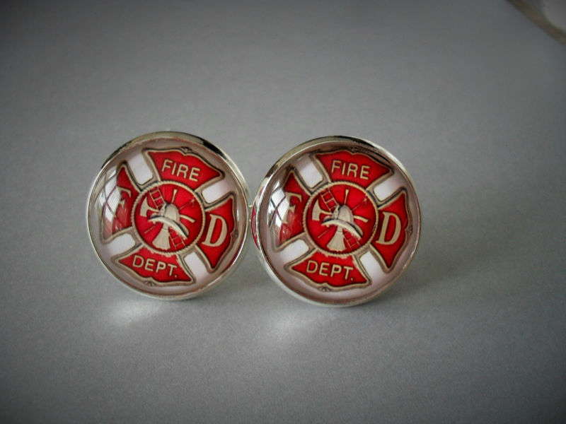 FIREFIGHTER EMBLEM  CUFFLINKS / Maltese Cross / Gift for Him / Fireman Gift / 2 Sizes / Cuff Links  / Firefighter gift / Gift Boxed - product image