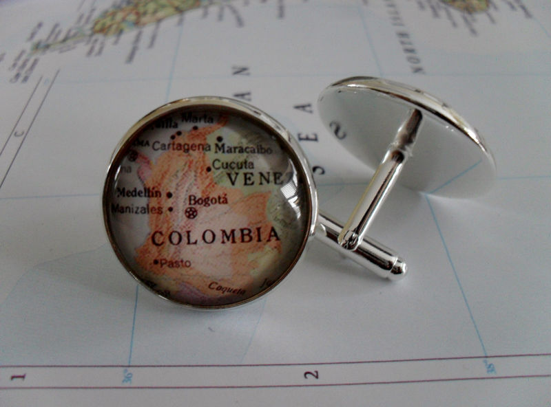 COLOMBIA Map CUFF LINKS / Silver Colombia cufflinks /  Groomsmen Gift / Custom map cufflinks / map jewelry / Colombian map cufflinks / gift - product image