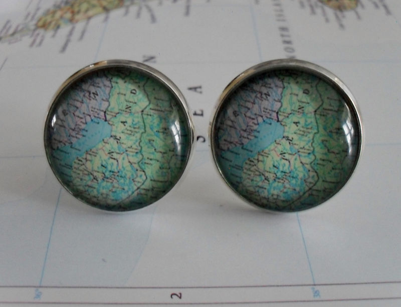 FINLAND Map Cuff Links / Finland map cufflinks / Groomsmen Gift / personalized gift for him / map jewelry / destination gift /silver - product image
