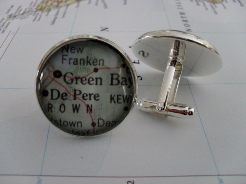 GREEN BAY Wisconsin Map Silver Cufflinks // Father's Day // Groomsmen Gift //  Map jewelry // Gift for Him //  map cuff links // Gift boxed - product image