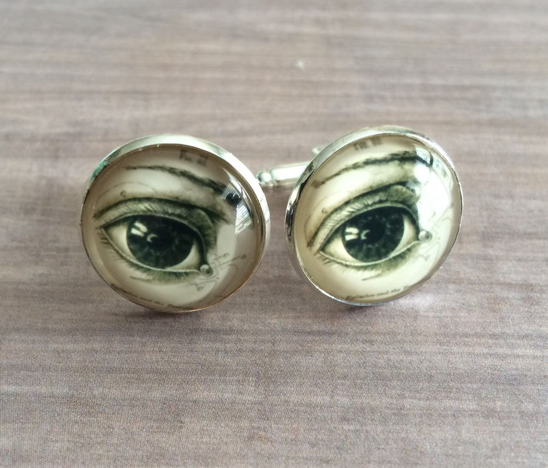 EYE CUFFLINKS / Vintage Anatomy  Cuff Links  The EYE / Gift For Ophthalmologist Optometrist Optician /  Eye Illustration  / Gift Boxed - product image