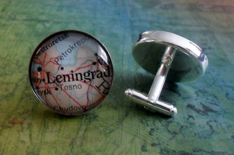 LENINGRAD,Russia,Map,Silver,CUFF,LINKS,//,Father's,Day,Groomsmen,Gift,cufflinks,unique,gift,for,him,boxed,Accessories,Cuff_Links,Canadian,Bjeweled_Vintage,One_Of_A_Kind,Hand_Made,Cufflinks,Fathers_Day_Gift,Groomsmen_Gift,Leningrad,Wedding,Unique_Gift,map_cuff_links