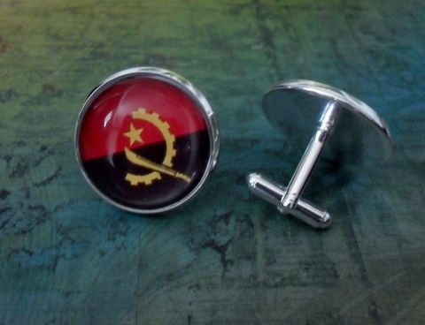 ANGOLAN,FLAG,Silver,Cufflinks,//,National,Flag,of,Angola,Father's,Day,Groomsmen,Gift,Wedding,Patriotic,Cuff,Links,Boxed,Accessories,Cuff_Links,Hand_Made,Fathers_Day_Gift,Groomsmen_Gift,Glass_Domed,National_Flag,Angolan_Flag,Flag_Cufflinks,Unique_Gift,flag_cuff_links