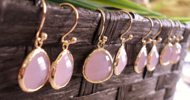 Bridesmaid Set of 4 Pairs // Gold Framed Faceted Frosted PALE PINK Drop EARRINGS / Pink Opal / Glass / Dangle / Simple / Elegant / Gift Box - product image