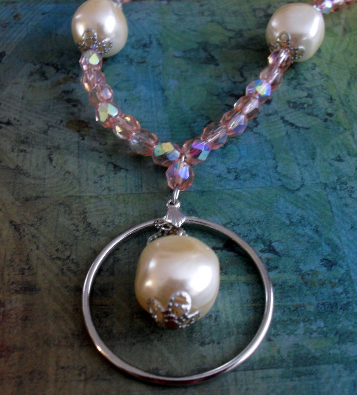 Peachy Rose Crystal & Pearl  Beaded EYEGLASS HOLDER NECKLACE / Loop / Eyeglass Chain / Unique gift for Her / Lanyard / Gift Boxed - product image