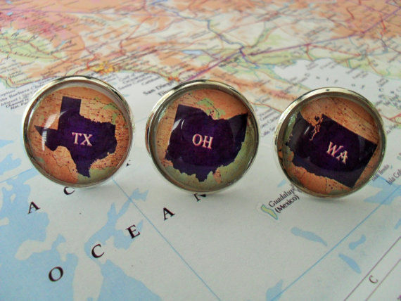 FLORIDA STATE Map Cufflinks / Florida cuff links / FL cufflinks / Sunshine State / Groomsmen Gift / Personalized Gift for Him / Gift boxed - product image