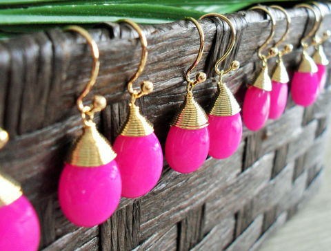BRIDESMAID,SET,of,4,Pairs,Wire,Wrapped,Fuchsia,Jade,Drop,EARRINGS,/,Hot,Pink,Semi,Precious,Stone,Gold,Dangle,Bridesmaid,Gift,Box,Weddings,Jewelry,Wedding,Simple,Bridesmaid_Jewelry,Wire_Wrapped,Semi_Precious_Stone,Hot_Pink,set_of_4_pairs,bridesmaid_earrings