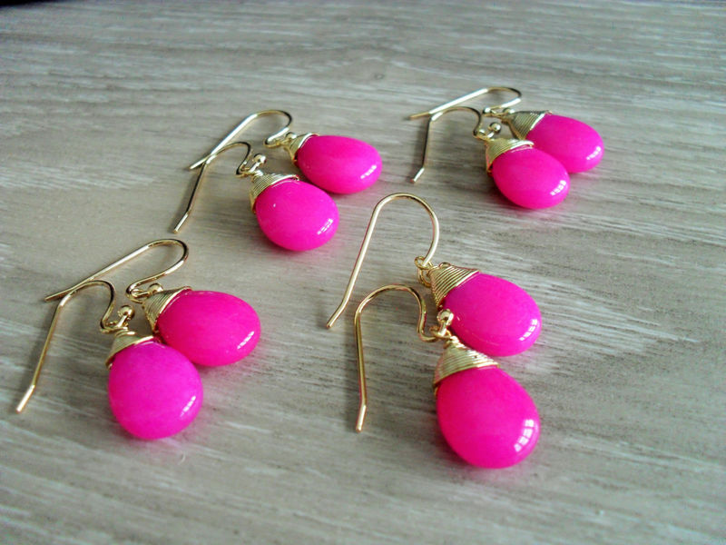 BRIDESMAID SET of 4 Pairs Wire Wrapped  Fuchsia Jade Drop EARRINGS  / Hot Pink / Semi Precious Stone / Gold / Dangle / Bridesmaid / Gift Box - product image