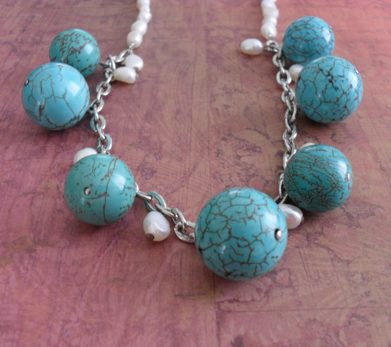 Chunky TURQUOISE & Freshwater PEARL Beaded NECKLACE / Summery / Gift for Her / Semi Precious / Turquoise and White / Gift Boxed - product image