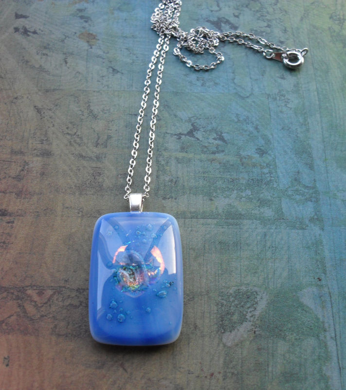 Mystical Blue and Iridescent FUSED glass / DICHROIC glass pendant necklace / Hand Crafted / One of a kind / Blue Glass Pendant / Gift  Boxed - product image