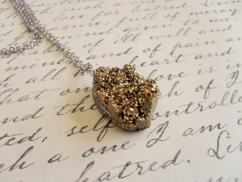 Gorgeous GOLD DRUZY Stone PENDANT  Necklace /  Semi Precious / Silver Chain / Simple / Drusy / Geode / Raw Stone Pendant / Gift boxed - product image