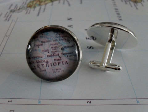 ETHIOPIA,Map,Silver,CUFF,LINKS,//,Father's,Day,Groomsmen,Gift,Cufflinks,for,Him,map,jewelry,Boxed,Weddings,Jewelry,Canadian,Hand_Made,Vintage_Map,Fathers_Day_Gift,Groomsmen_Gift,Glass_Domed,Ethiopia,Wedding,Canteam,cool_cuff_links,map_cufflinks