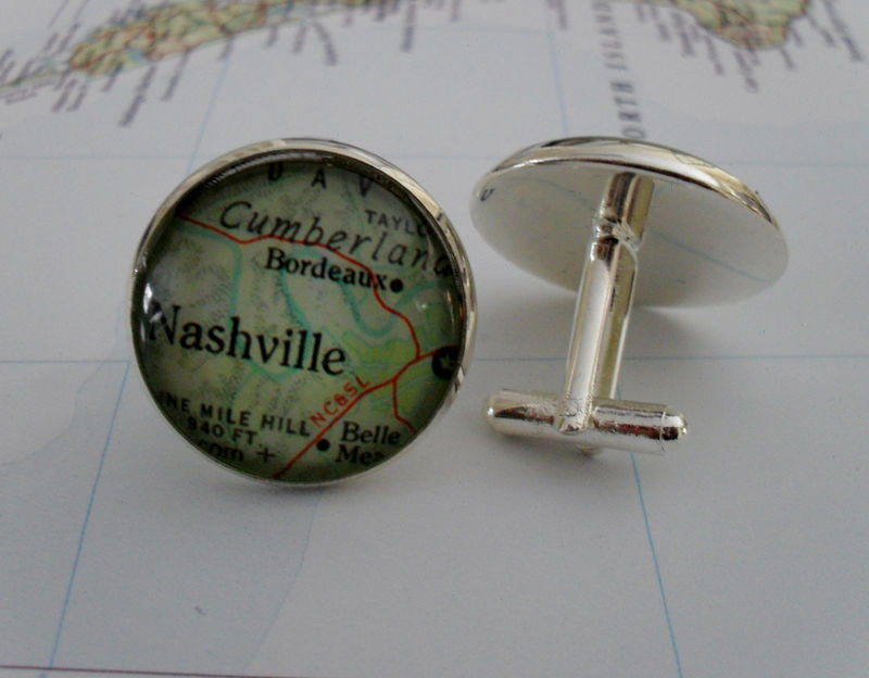 NASHVILLE Tennessee Map Silver CUFF LINKS / Nashville Map Cufflinks / Groomsmen Gift / Personalized Gift for Him / Map jewelry / Gift Boxed - product image
