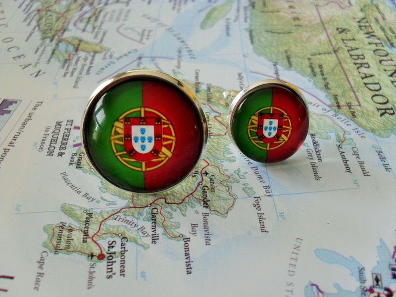 PORTUGUESE FLAG Silver Cuff Links // National Flag of Portugal // Groomsman gift // Father's Day Gift // Patriotic // World Cup Soccer Fan - product image