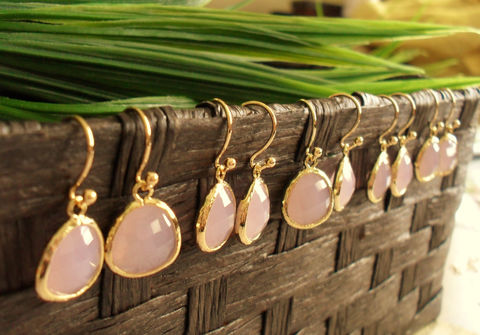 Bridesmaid,Set,of,5,Pairs,//,Gold,Framed,Faceted,Frosted,PALE,PINK,Drop,EARRINGS,Pink,Opal,Glass,Dangle,Simple,Elegant,Weddings,Jewelry,Hypoallergenic,Hand_Made,Faceted_Glass,Pale_Pink,bridesmaid_earrings,set_of_5_pairs,gold_and_pink