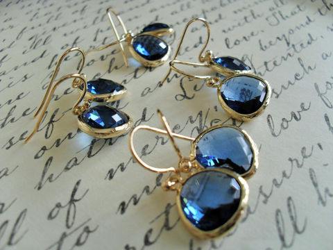 Bridesmaid,Set,of,4,Pairs,/,Gold,Framed,Faceted,SAPPHIRE,BLUE,Drop,EARRINGS,Midnight,Blue,Glass,Dangle,Simple,Elegant,Gift,Boxed,Weddings,Jewelry,Hypoallergenic,Hand_Made,Faceted_Glass,Sapphire_Blue,Midnight_Blue,Bridesmaid_Earrings,blue_glass_earrings