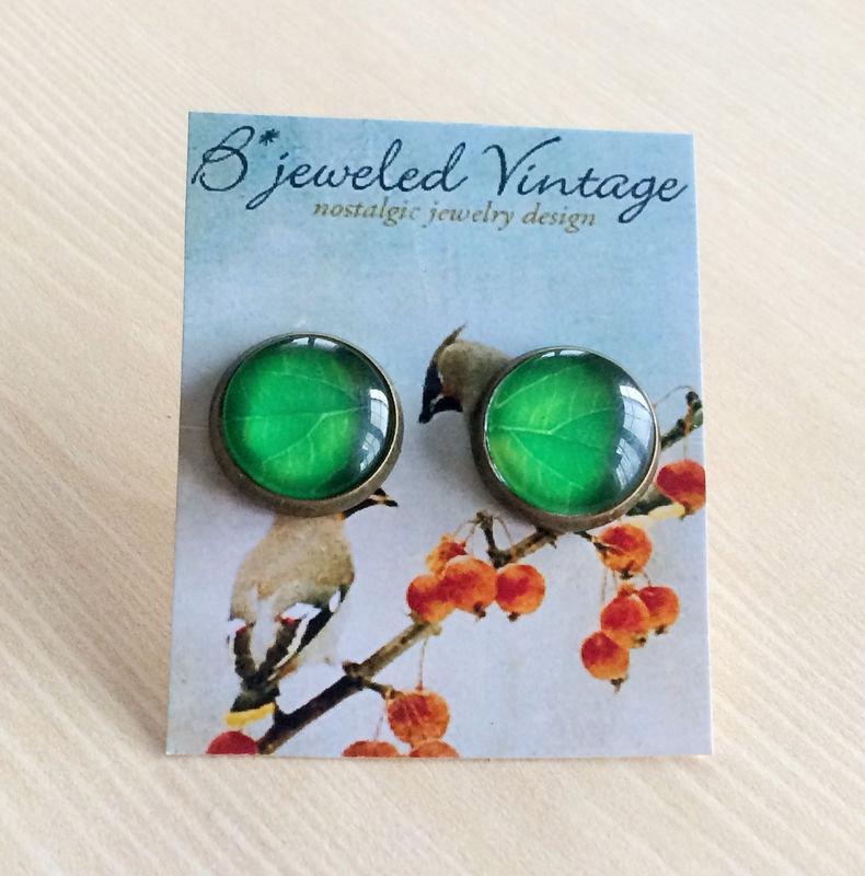 Green Leaf Glass Stud EARRINGS / Leaf Studs / Botanical /Antique Brass / Glass Cabochon / Gift for Her under 10 dollars / gift boxed - product image