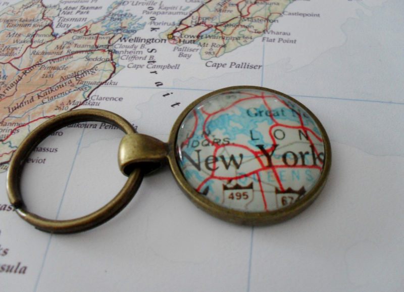 NEW YORK Map Keychain /  Travel Souvenir / NYC keychain / custom map keychain / New York City Souvenir / Map jewelry / Big Apple Gift - product image