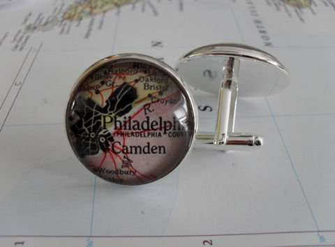 PHILADELPHIA,Pennsylvania,Map,Silver,CUFF,LINKS,//,Father's,Day//,Groomsmen,Gift,Accessories,Cuff_Links,Canadian,Bjeweled_Vintage,One_Of_A_Kind,Hand_Made,Cufflinks,Vintage_Map,Fathers_Day_Gift,Groomsmen_Gift,Philadelphia,Wedding,Unique_Gift