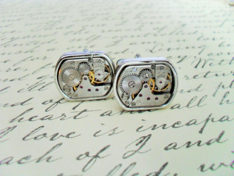 STEAMPUNK Vintage WATCH Movement CUFFLINKS / Industrial / Retro / Unique Gift / Groomsmen Gift / Upcycled / 7 jewels / mechanical cuff links - product image