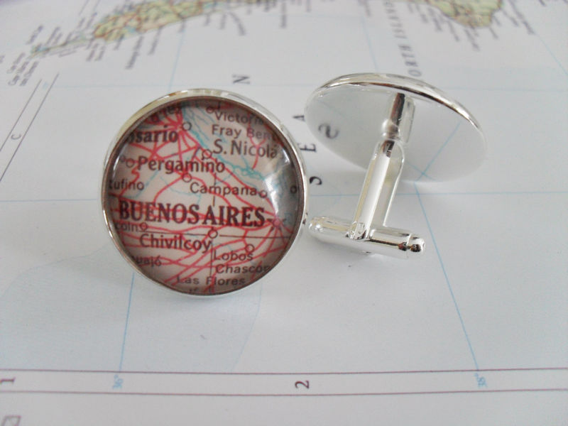BUENOS AIRES  Map CUFFLINKS // Argentina map cufflinks // groomsmen gift // Christmas // cuff links // custom map cufflinks // personalized - product image