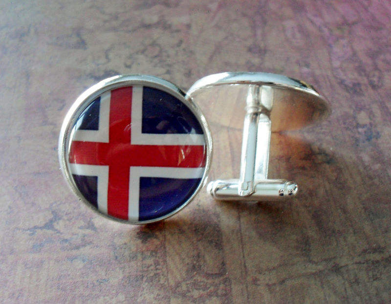 ICELANDIC FLAG Cufflinks / National Flag of ICELAND / Country Flag Cuff links / Groomsmen Gift / Patriotic cufflinks / Iceland Cufflinks - product image