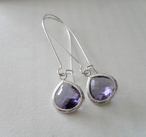 TANZANITE,PURPLE,Drop,EARRINGS,//,Faceted,Glass,Silver,Dangle,Bridesmaid,Bridal,Simple,Gift,Boxed,Weddings,Jewelry,Prom,Wedding,Nickel_Free,Faceted_Glass,White_Gold,Tanzanite,Purple,Unique_Gift,Canteam