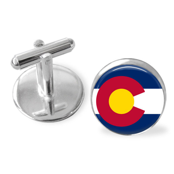 COLORADO STATE Flag Cufflinks / Colorado cuff links / The Centennial State / state flag jewelry / Groomsmen Gift / Personalized Gift for Him - product image