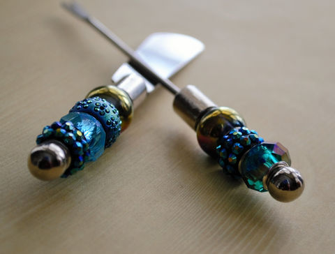 Beaded,Appetizer,Set,/,Teal,Blue,Green,Glass,Canape,Knife,&,Fork,Hostess,Gift,OOAK,Under,30,dollars,Boxed,Housewares,Serving,housewarming_gift,hostess_gift,unique_gift_idea,beaded_knife_fork,appetizer_set,canape_set,beaded_canape_set,beaded_utensil_set,OOAK_gift,under_30_dollars,made_in_Canada,hand_beaded_utensils,teal_blue_green