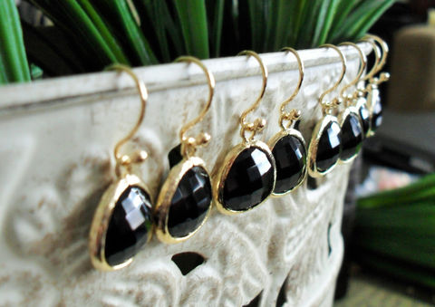 Bridesmaid,Set,of,4,Pairs,//,Gold,Framed,Faceted,FRENCH,JET,Drop,EARRINGS,/,Black,Glass,Dangle,Simple,Elegant,Gift,Boxed,Weddings,Jewelry,Hypoallergenic,French_Jet,Black_Glass,Faceted_Glass,Unique_Gift,bridesmaid_earings,black_earrings,set_of_4_pairs