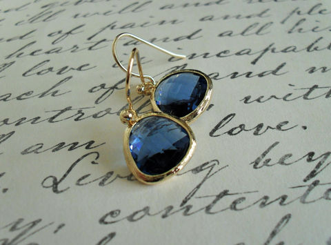 Gold,Framed,Faceted,SAPPHIRE,BLUE,Drop,EARRINGS,//,Midnight,Blue,Glass,Dangle,Simple,Bridesmaid,Elegant,Earrings,Jewelry,Hypoallergenic,Hand_Made,Prom,Faceted_Glass,Sapphire_Blue,Midnight_Blue,Canteam,elegant_earrings,blue_glass_earrings