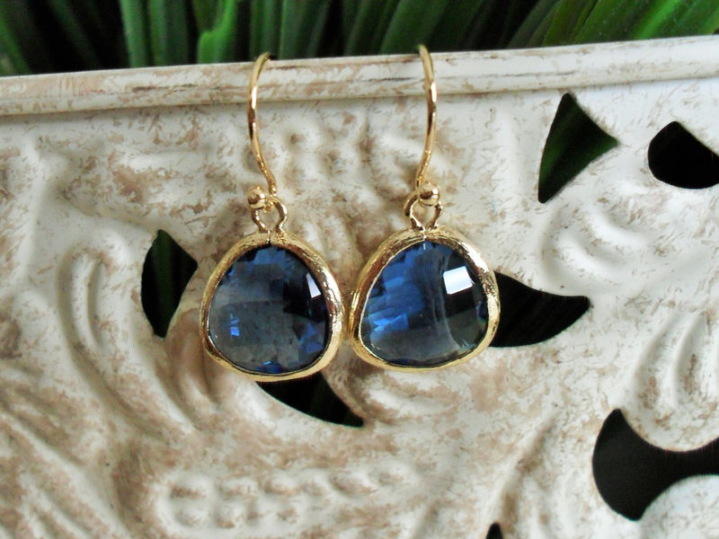 Gold Framed Faceted SAPPHIRE BLUE Drop EARRINGS // Midnight Blue //  Glass // Dangle //  Simple // Bridesmaid // Elegant Blue Earrings - product image