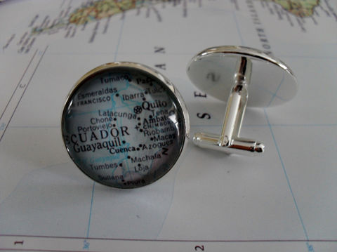 ECUADOR,Map,Silver,CUFF,LINKS,//,Father's,Day,Groomsmen,Gift,Cufflinks,for,Him,Accessories,Cuff_Links,Canadian,Vintage_Map,Fathers_Day_Gift,Groomsmen_Gift,Glass_Domed,Country,Wedding,Ecuador,Map_Cufflinks,Unique_Gift