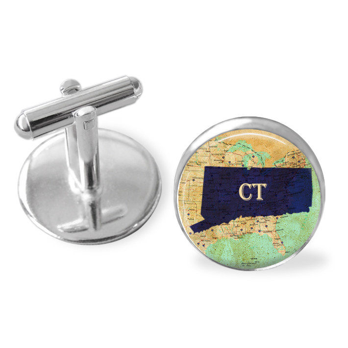 CONNECTICUT STATE Map Cufflinks / CT cufflinks / custom map / Groomsmen Gift / Personalized Gift for Him / Constitution State / Gift boxed - product image
