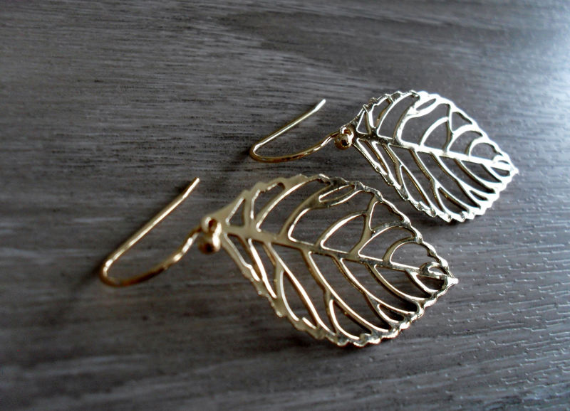 DELICATE Gold  FILIGREE LEAF Earrings  // Gift For Her  // Organic // Light Weight // Leaf jewelry // Fall Earrings // Gift boxed - product image