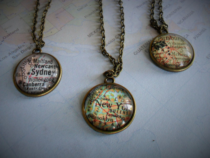 Custom MAP Necklace / Map Pendant  / You Pick The Location / Any City / Vintage map Necklace / Map Jewelry / unique gift / gift boxed - product image