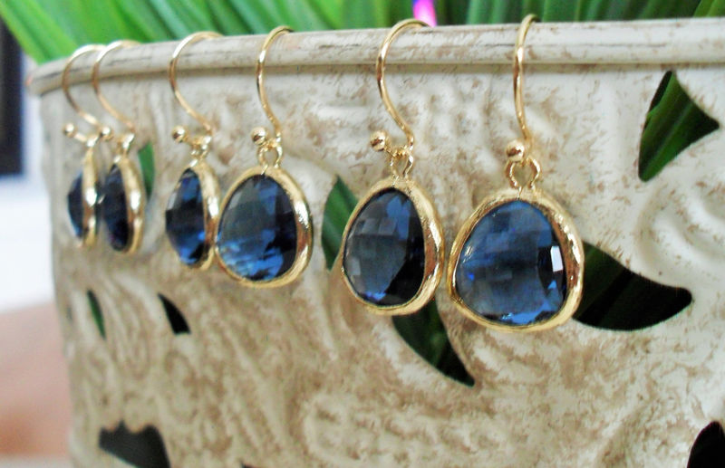 Bridesmaid Set of 3 Pairs / Gold Framed Faceted SAPPHIRE BLUE Drop EARRINGS / Midnight Blue Bridesmaid / Glass / Dangle / Simple / Elegant - product image