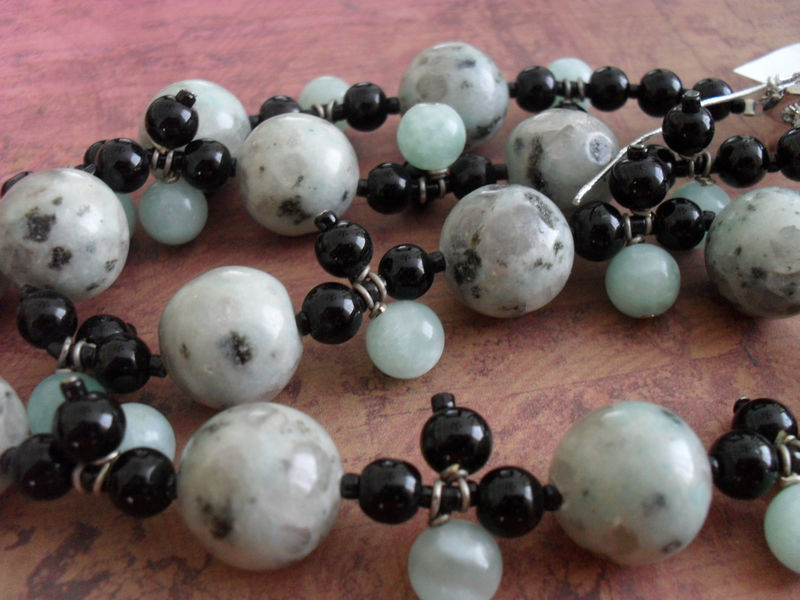 MINT Sesame Jasper & Black Onyx BEADED NECKLACE / Intricate / one of a kind / beadwork / Mint Green and Black Necklace / gift for her - product image