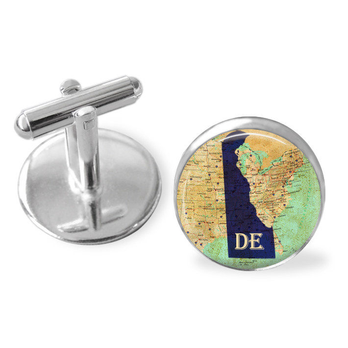 DELAWARE STATE Map Cufflinks / The First State cuff links / DE cufflinks / custom / Groomsmen Gift / Personalized Gift for Him / Gift boxed - product image