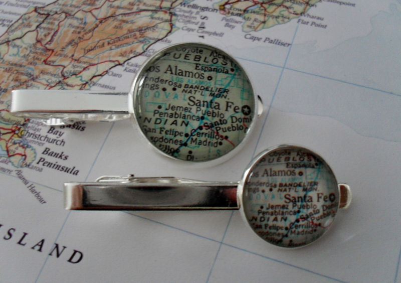 SANTA FE New Mexico MAP Silver Tie Bar / Groomsmen Gift / Gift for Him / Tie Clip / Tie Clasp / Tie Slide /Personalized Gift / Map jewelry - product image