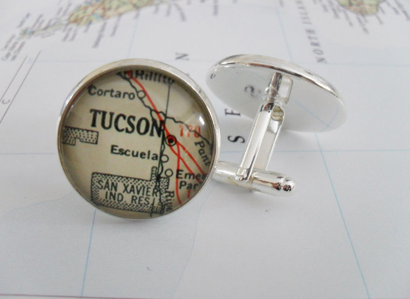 TUCSON ARIZONA Map Silver Cufflinks / Tucson Map Cuff Links / groomsmen gift / Personalized Gift for him / Custom Map Jewelry / Gift Boxed - product image