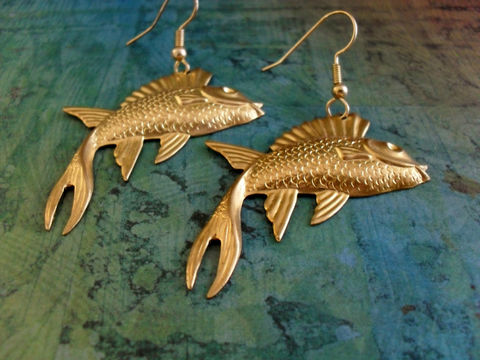 VINTAGE,Brass,Large,Flying,FISH,EARRINGS,/,Interesting,Nautical,Earrings,Retro,Unique,Gift,Boxed,Jewelry,Canadian,One_Of_A_Kind,Hand_Made,Gold,Vintage_Findings,Vintage_Brass,Flying_Fish,Big_And_Bold,Unique_Gift,Canteam,nautical_earrings,fish_earrings