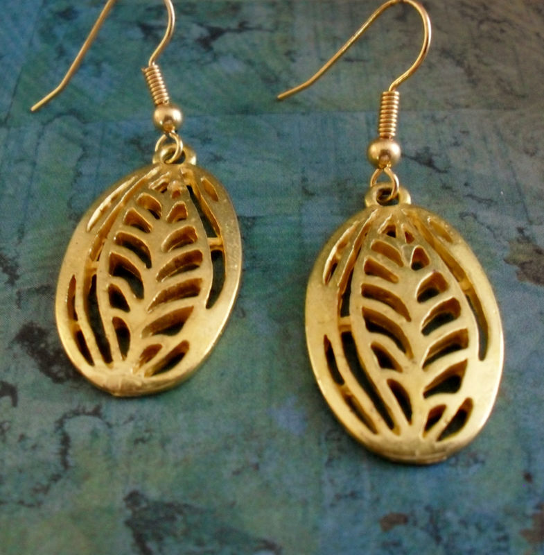 FERN Design Modern Gold  FILIGREE Drop EARRINGS // Small // Simple // Unique Gift for Her // Gift boxed - product image