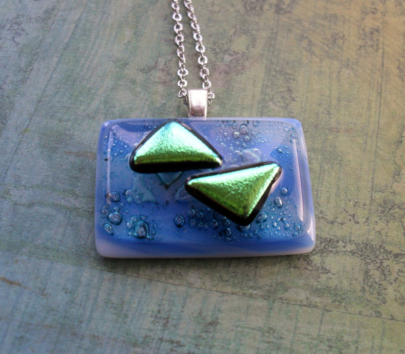 Beautiful Blue and Iridescent Green FUSED glass // DICHROIC glass pendant necklace // Hand Crafted // One of a kind // Gift Boxed - product image
