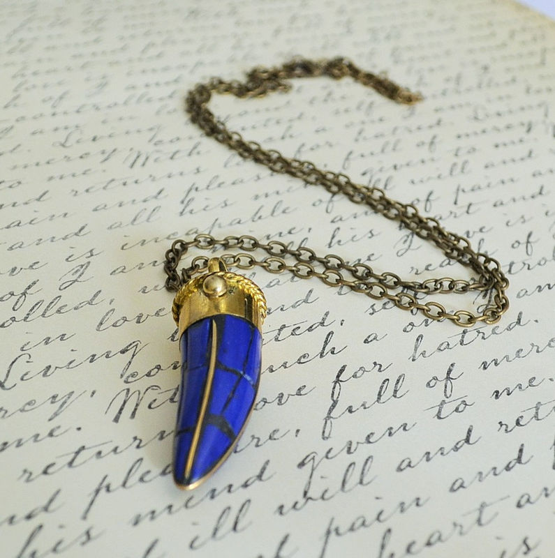 Blue Lapis TIBETAN HORN Mosaic inlay pendant NECKLACE / lapis and brass /  lapis tusk pendant / Bohemian / Tribal / Boho Chic / Trendy / - product image