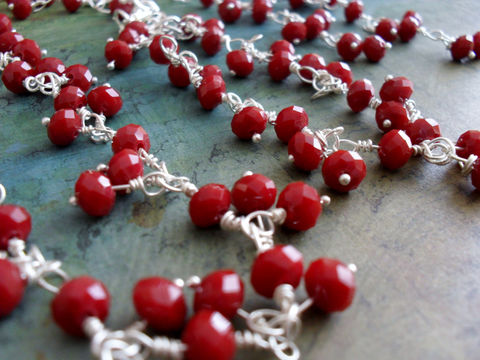 RAVISHING,RED,Opaque,Crystal,Beaded,Necklace,Bracelet,and,Earrings,Set,/,One,of,a,kind,Gift,for,Her,Boxed,Wire,wrapped,beads,Jewelry,Designer,Canadian,Fire_Engine_Red,Gift_For_Her,Unique_Gift,necklace_set,beaded_bracelet,ravishing_red,sterling_silver,red_jewelry_set