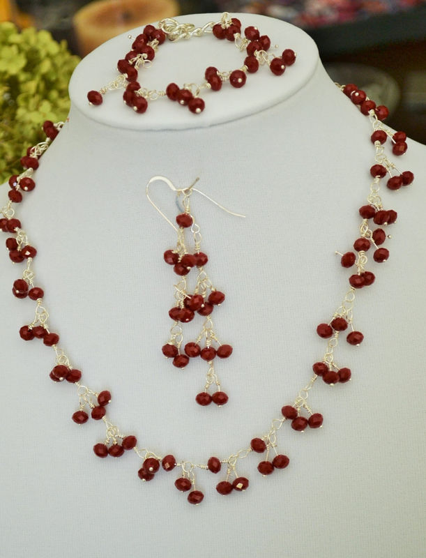 RAVISHING  RED Opaque Crystal Beaded Necklace Bracelet and Earrings Set / One of a kind / Gift for Her / Gift Boxed / Wire wrapped beads - product image